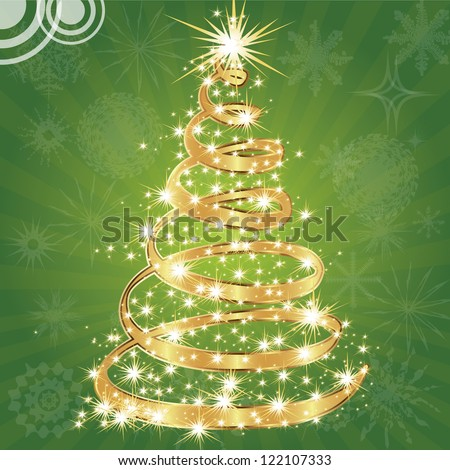 Christmas tree with stars. - stock vector