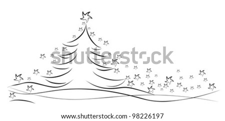 christmas tree with stars - vector illustration - stock vector