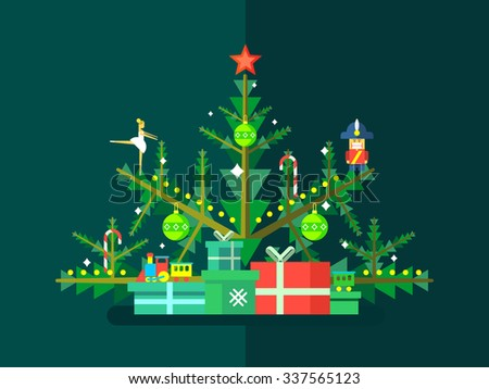 Christmas tree with toys. New year decoration, celebration xmas, vector illustration - stock vector
