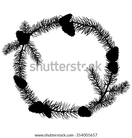 Christmas tree wreath with cones black silhouette. Pine, fir, spruce. Frame isolated on white background
