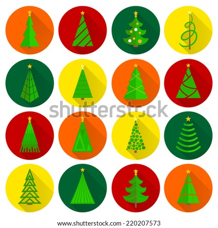 Christmas tree xmas celebration holiday flat round buttons icons set isolated vector illustration - stock vector