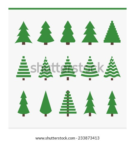 Christmas trees collection. Set of fir trees. Vector illustration - stock vector