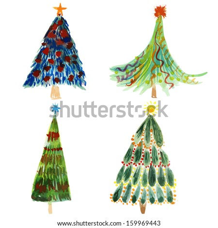 Christmas trees holidays hand drawn paint winter colorful vector set design - stock vector