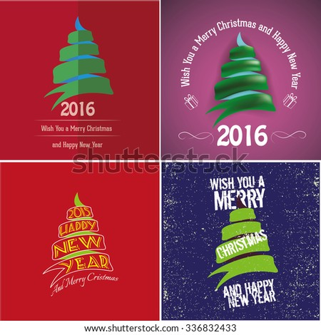 Christmas trees in different styles vector illustration set. - stock vector