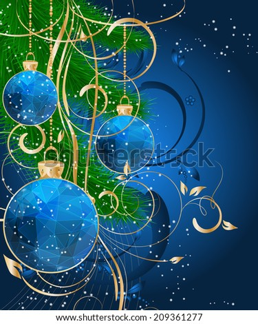 Christmas triangle pattern ball decorate card vector illustration - stock vector