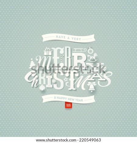Christmas type design - vector illustration - stock vector