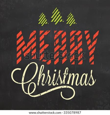 Christmas Typographic Background / Merry Christmas - stock vector