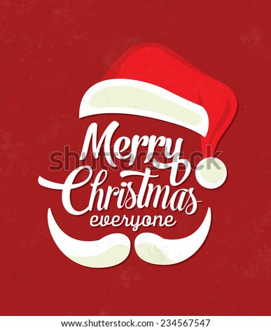 Christmas Typographic Background / Merry Christmas / Santa - stock vector