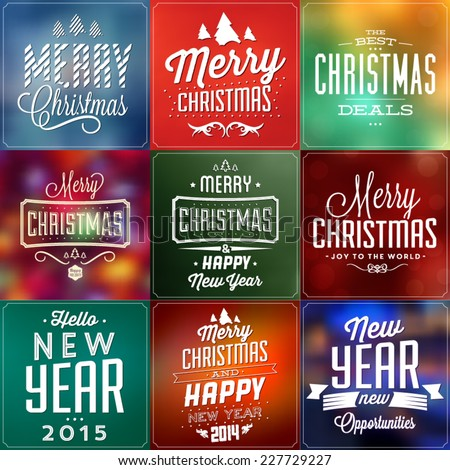 Christmas Typographic Background Set / Merry Christmas And Happy New Year - stock vector