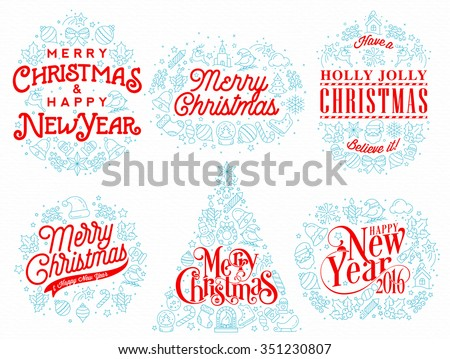 Christmas Typographical Background With Icon Elements For Winter Holidays - stock vector
