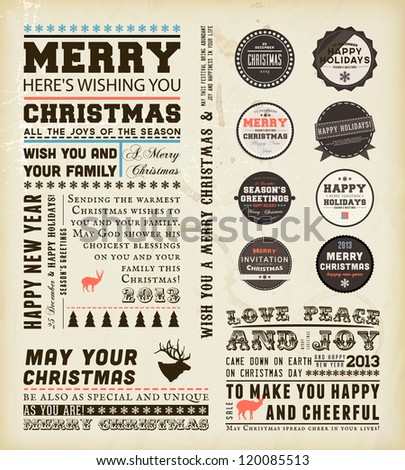 Christmas typography decoration collection | Set of calligraphic and typographic elements, frames, vintage labels and borders. Floral ornaments and old paper texture. All for holiday invitation design - stock vector