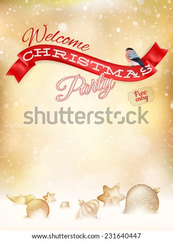 Christmas typography poster on gold bokeh. EPS 10 vector file included - stock vector