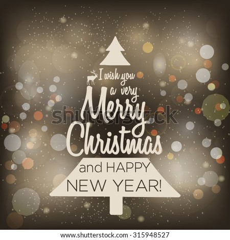 Christmas typography Vector winter background Happy New Year message on card Vector postcard - stock vector