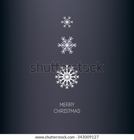 Christmas vector background. Three snowflakes different sizes and shapes. Minimalism. - stock vector