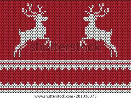 Christmas vector background, with reindeers - stock vector