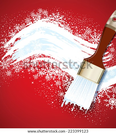 Christmas vector background with snowflakes and snow brush - stock vector