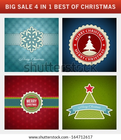 Christmas vector backgrounds set. Greeting cards, banners or invitations. Big sale 4 in 1 holiday illustrations. - stock vector