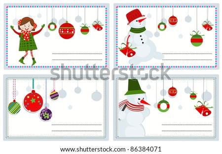 Christmas vector cards with funny girl and snowmen - stock vector