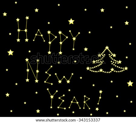 """Christmas vector decorative background with words """"Happy New Year!"""", shining decorated Christmas tree and stars - stock vector"""