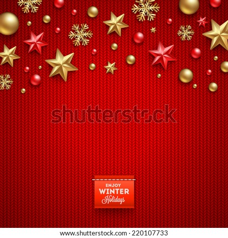Christmas vector design - holidays decorations and label on a knitted red background - stock vector