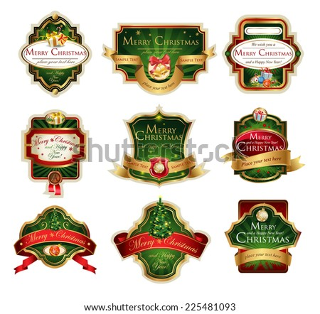 Christmas vector frames and ornamental labels set. Easy to scale and edit. All pieces are separated.  - stock vector