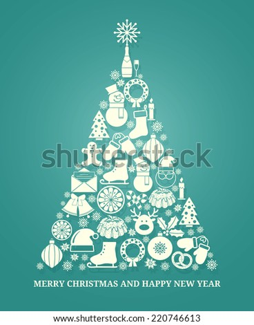 Christmas vector greeting card with a tree composed of a variety of seasonal icons in white silhouette arranged in the shape of a conical tree on blue with text below for Xmas and New Year - stock vector