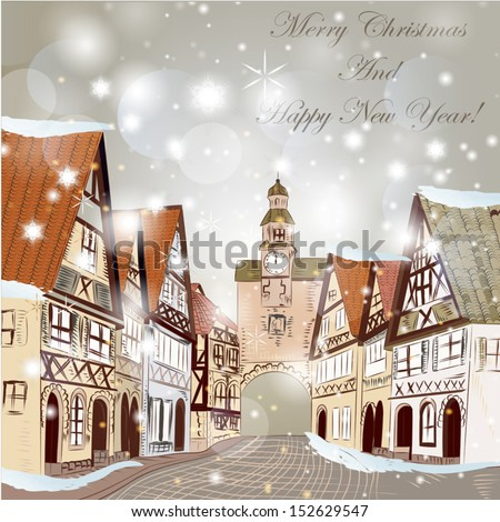 Christmas vector hand drawn card in sketch style with old street and vintage houses - stock vector