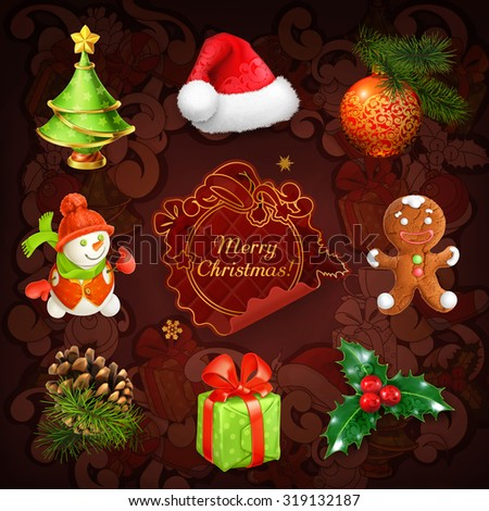 Christmas, vector icon set - stock vector