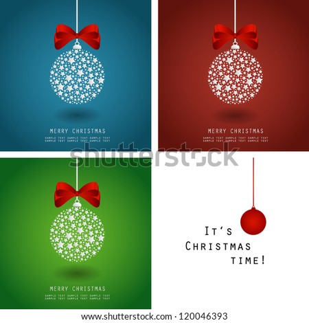 Christmas vector illustration - bauble made of stars with ribbon - set - stock vector
