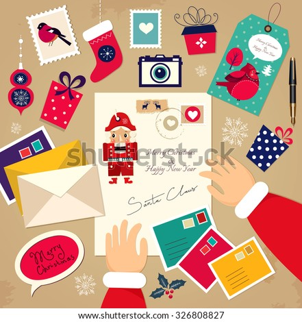 Christmas Vector illustration: Congratulations from Santa Claus. - stock vector