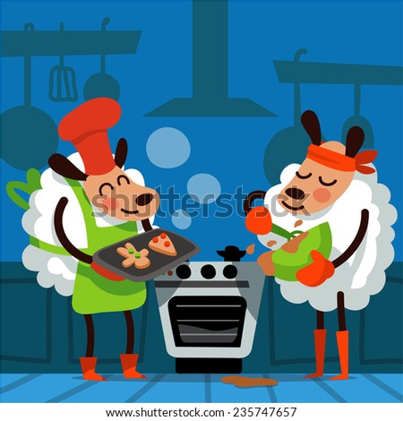 Christmas vector illustration in cartoon style. Symbol of the year - a sheep. Sheep bake Christmas cookies - stock vector