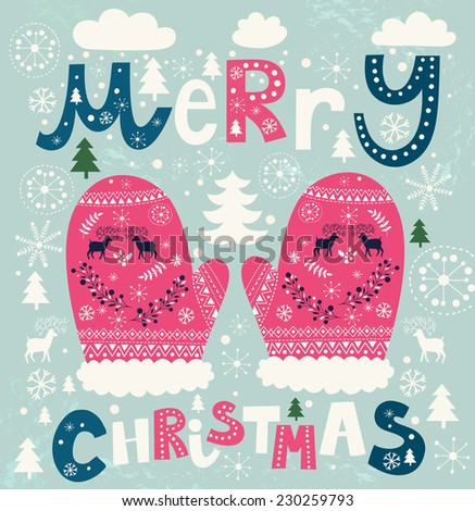 Christmas vector illustration with mittens - stock vector