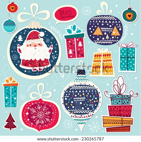 Christmas vector illustration with Santa Claus and gifts - stock vector