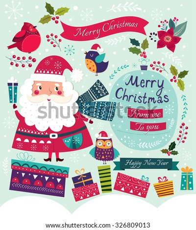 Christmas vector illustration with Santa Claus, birds and gifts - stock vector