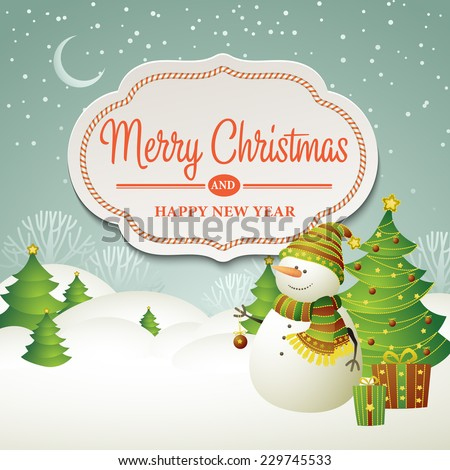 Christmas vector illustration with snowman - stock vector