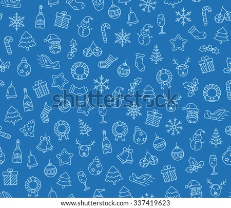 Christmas vector seamless pattern. Christmas symbols on blue background. Vector seamless Illustration - stock vector