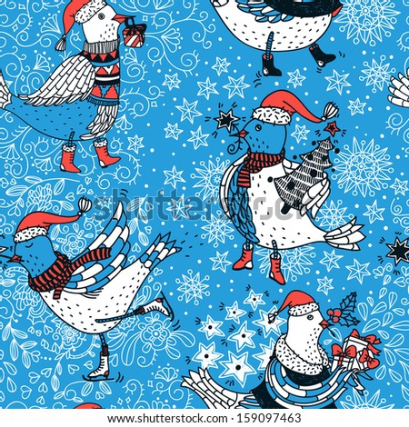 Christmas vector seamless pattern with cute skating birds - stock vector