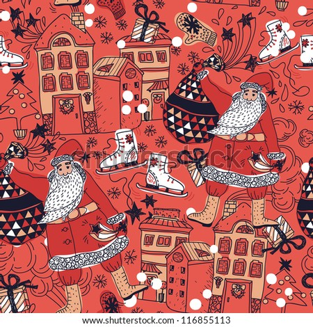 Christmas vector seamless pattern with Santa and decorated houses - stock vector