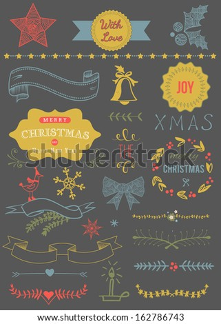 Christmas Vector Set: Design Elements and Page Decoration, Vintage Ribbon, Laurel, Label - stock vector