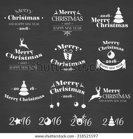 Christmas vector set - labels, emblems and other decorative elements - stock vector
