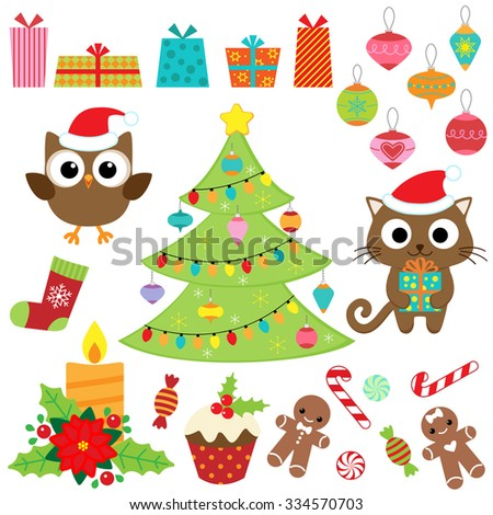 Christmas vector set with presents, sweets, tree, ornaments, owl and cat in costumes - stock vector