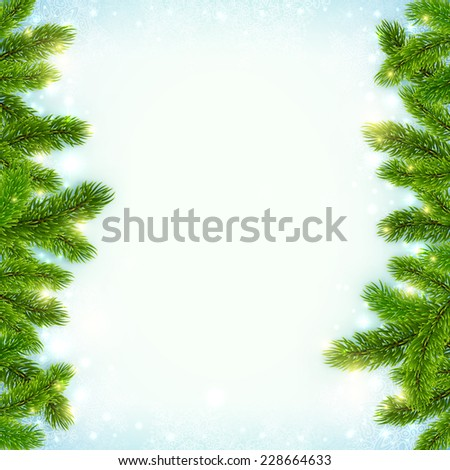 Christmas vector shining snow background with fir tree branches frame - stock vector