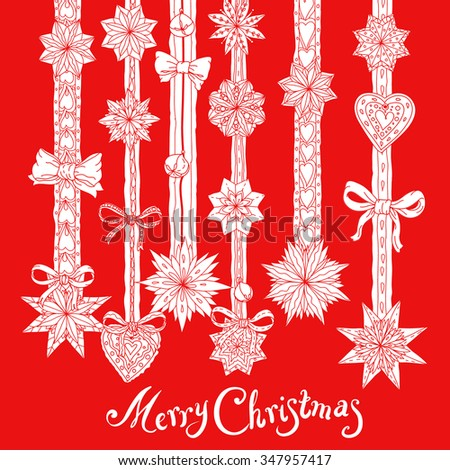 Christmas vignette  with decorative items, hand-drawing includes text Merry Christmas  - stock vector