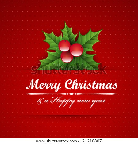 Christmas vintage background with holly berry. - stock vector