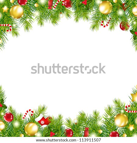 Christmas Vintage Border, Isolated On White Background, Vector Illustration - stock vector