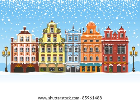 Christmas vintage card with the urban landscape and snowfall. Detailed vector picture. - stock vector