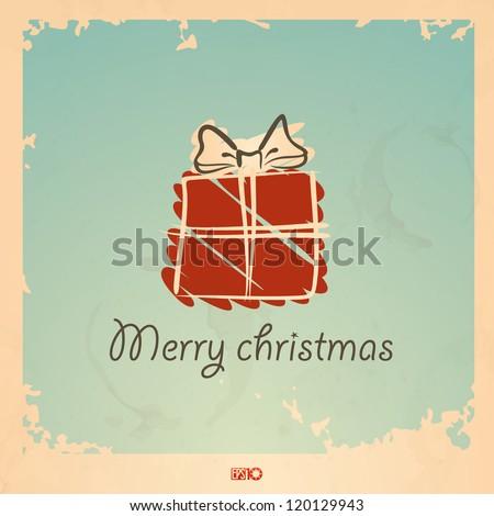 Christmas vintage gift box. Vector illustration. Eps 10. - stock vector