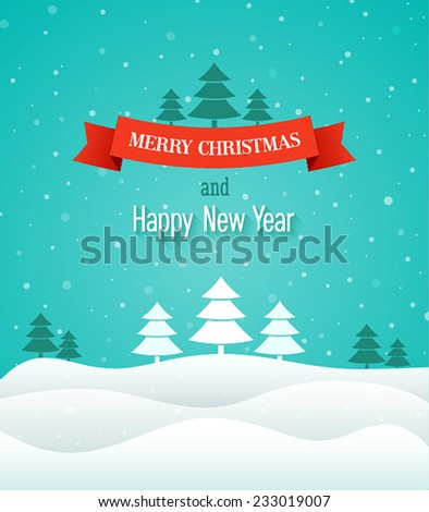 Christmas vintage greeting card. Vector illustration. - stock vector