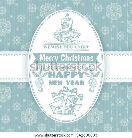 Christmas vintage greeting card with hand draw elements and holidays lettering on seamless snowflakes background. Poster, banner, party invitation template. Happy New Year. Marry Christmas. - stock vector