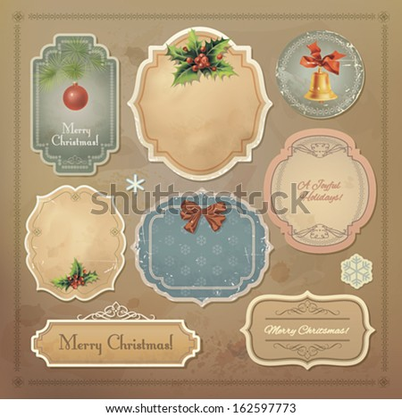 Christmas vintage labels set. Vector eps10. - stock vector